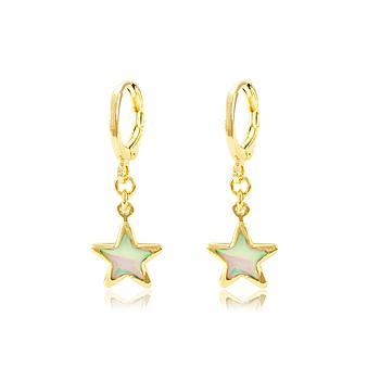 Brinco Argola Folheado Ouro 18K Estrela com Cristal Pedra da Lua