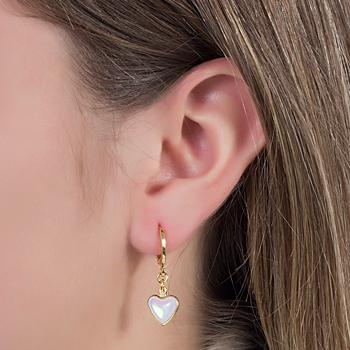 Brinco Argola Folheado Ouro 18K Coração com Cristal Pedra da Lua