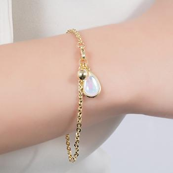 Pulseira Folheada Ouro 18K Gota com Cristal Pedra da Lua