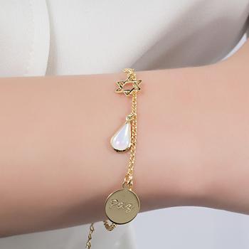 Pulseira Folheada Ouro 18K Gota com Cristal Pedra da Lua,Medalha Paz e Estrela de Davi