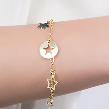Pulseira Folheada Ouro 18K com Estrelas Lisas