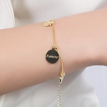 Pulseira Folheada Ouro 18K Coração com Medalha Amor