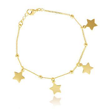Pulseira Folheada Ouro 18K Corrente com Bolinhas e Estrelas Penduradas