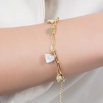 Pulseira Folheada Ouro 18K com Medalha Lisa, Estrela e Coração com Cristal Pedra da Lua