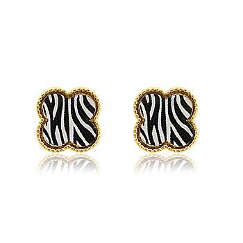Brinco Folheado Ouro 18K Animal Print Zebra