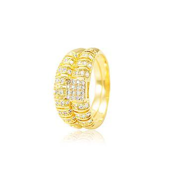 Anel Duplo Detalhado Folheado Ouro 18K com Micro Zircônia Cristal