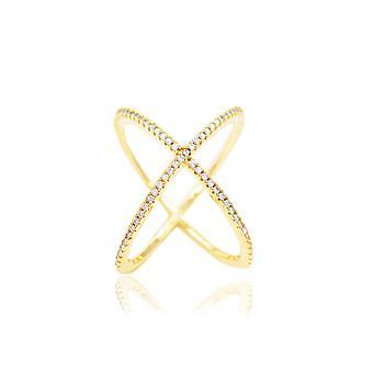 Anel X Folheado Ouro 18K com Micro Zircônia Cristal
