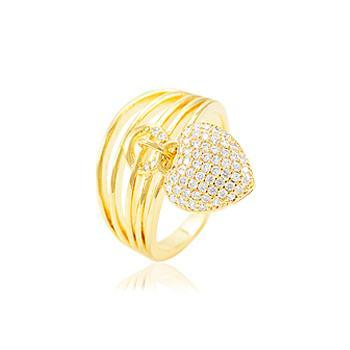 Anel Folheado Ouro 18K com Coração Micro Zircônia Cristal