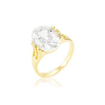 Anel Folheado Ouro 18K com Zircônia Oval Cristal