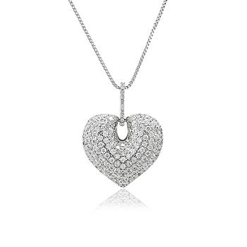 Colar Folheado Ródio com Pingente de Coração e Micro Zircônia Cristal