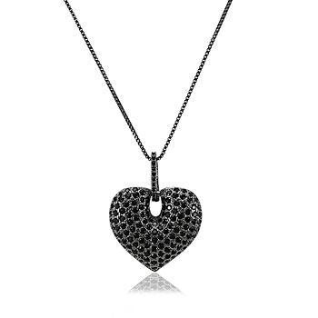 Colar Folheado Ródio Negro com Pingente de Coração e Micro Zircônia Negra