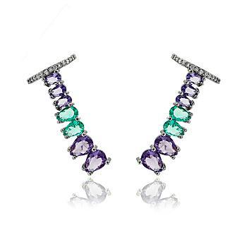 Brinco Ear Cuff Folheado Ródio Negro com Gotas Coloridas e Micro Zircônia Cristal