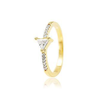 Anel Folheado Ouro 18K com Zircônia Triangular Cristal e Micro Zircônia Cristal