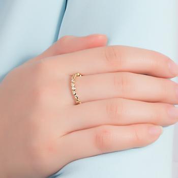 Anel Folheado Ouro 18K Corações com Zircônia Cristal