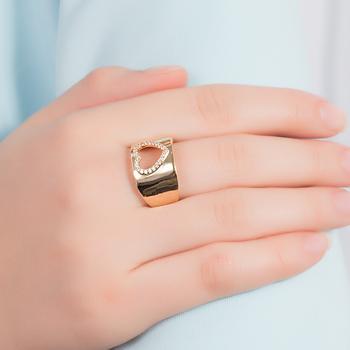 Anel Folheado Ouro 18K com Coração Vazado e Micro Zircônia Cristal