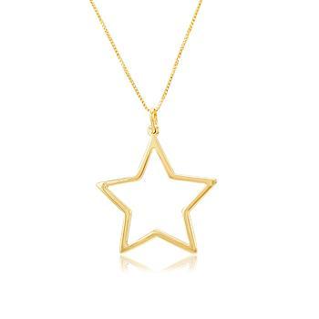 Colar Folheado Ouro 18K com Estrela Lisa Vazada