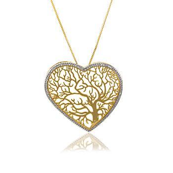 Colar Folheado Ouro 18K Coração com Árvore