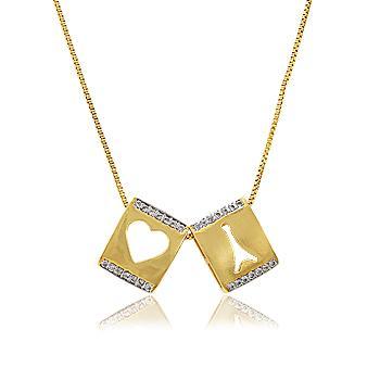 Colar Escapulário Folheado Ouro 18K com Pingente de Coração, Torre Eiffel e Micro Zircônia Cristal