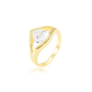 Anel Gota Folheado Ouro 18K com Zircônia Cristal