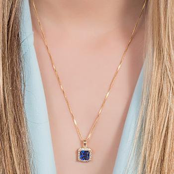 Conjunto Quadrado Folheado Ouro 18K com Cristal Azul Marinho e Micro Zircônia Cristal