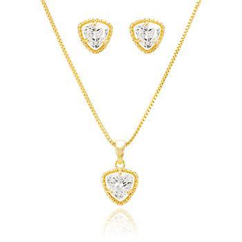Conjunto Triangular Folheado Ouro 18K com Cristal