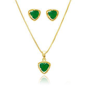 Conjunto Triangular Folheado Ouro 18K com Cristal Esmeralda