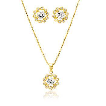 Conjunto Flor Folheado Ouro 18K com Zircônia Cristal