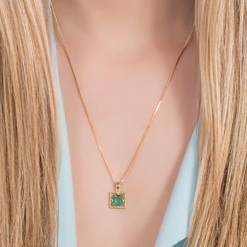 Conjunto Quadrado Folheado Ouro 18K com Cristal Turmalina Verde