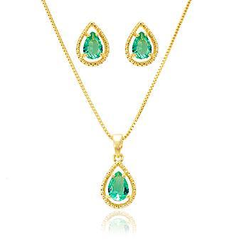Conjunto Gota Folheado Ouro 18K com Cristal Turmalina Verde