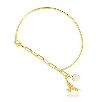 Bracelete Folheado Ouro 18K com Pingente Espirito Santo e Ponto de Luz Cristal