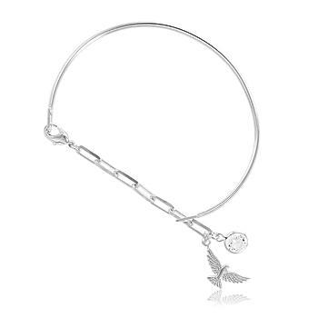 Bracelete Folheado Ródio com Pingente Espirito Santo e Ponto de Luz Cristal