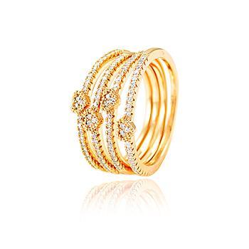 Conjunto 4 Anéis Coração Folheado Ouro 18K com Micro Zircônia Cristal