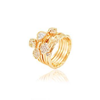 Conjunto 6 Anéis Variados Folheado Ouro 18K com Micro Zircônia Cristal