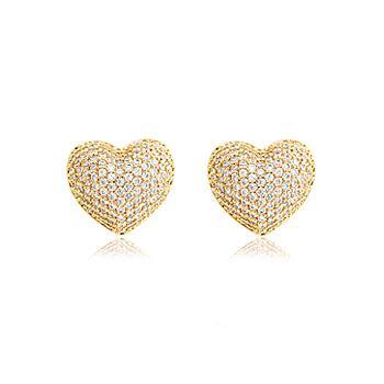Brinco Coração Folheado Ouro 18K Cravejado com Micro Zircônia Cristal