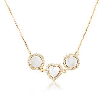 Colar Folheado Ouro 18K com Coração e 2 Círculos, Micro Zircônia Cristal e Madre Pérola