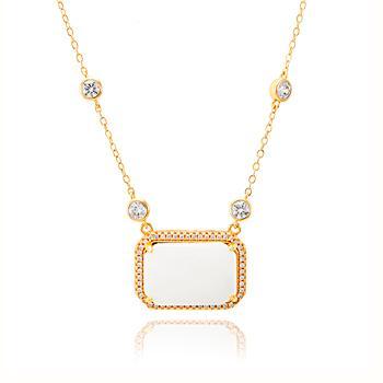 Colar Folheado Ouro 18K com Pingente Madre Pérola Retangular, Micro Zircônia Cristal e Corrente Tiffany