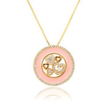 Colar Folheado Ouro 18K Mandala com Resina Rosa e Coração com Micro Zircônia Cristal