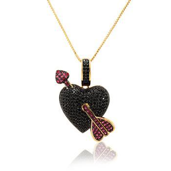 Colar Folheado Ouro 18K Coração com Flecha e Micro Zircônia Negra