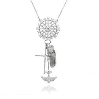 Colar Folheado Ródio com Mandala, Cruz, Espirito Santo e Zircônia Cristal