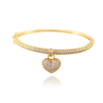 Bracelete Coração Folheado Ouro 18K com Micro Zircônia Cristal