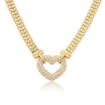Pulseira Folheada Ouro 18K Coração com Micro Zircônia Cristal e Corrente Dupla