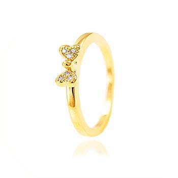Anel Folheado Ouro 18K com Laço Cravejado de Micro Zircônia Cristal