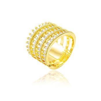 Anel Folheado Ouro 18K com 4 Fileiras de Zircônia Cristal