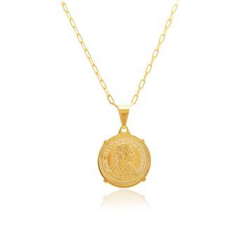 Colar Folheado Ouro 18K com Pingente Moeda Austríaca de 1915