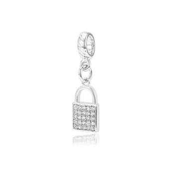 Berloque Cadeado Folheado Ródio com Micro Zircônia Cristal