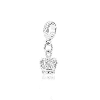 Berloque Folheado Ródio Coroa com Zircônia Cristal Dentro