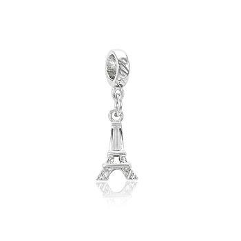 Berloque Torre Eiffel Folheado Ródio com Zircônia Cristal