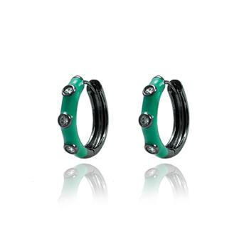 Brinco Argola Folheado Ródio Negro com Zircônia Cristal e Resina Turmalina Verde