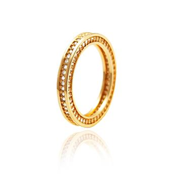 Anel Folheado Ouro 18K Cravejado de Micro Zircônia Cristal