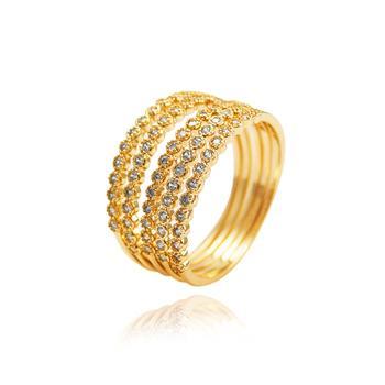 Conjunto 5 Anéis Folheado Ouro 18K com Micro Zircônia Cristal
